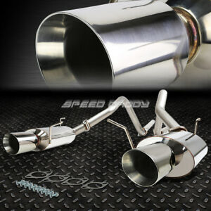 For 11 14 Ford Mustang 3 7 V6 4 Rolled Muffler Tip Stainless Catback Exhaust