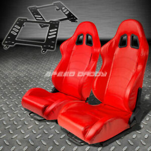 Pair Type 1 Reclining Red Pvc Racing Seat Bracket For 93 02 Camaro Trans Am