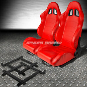 Red Pvc Leather Reclinable Racing Seat low mount Bracket For 99 04 Ford Mustang