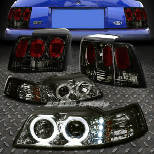 Smoke Dual Halo Projector drl Headlight altezza Tail Light For 99 04 Mustang gt