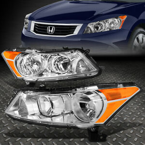For 2008 2012 Honda Accord Pair Chrome Housing Amber Corner Headlight Lamp Set