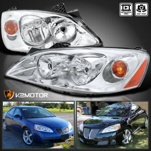 2005 2010 Pontiac G6 Replacement Chrome Clear Headlights Head Lamps Left right