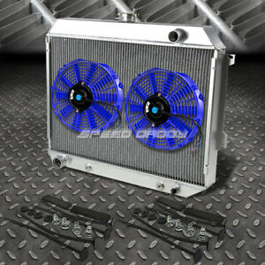 3 Row Aluminum Radiator 2x 12 Fan Blue For 68 73 Satellite Gtx Roadrunner V8