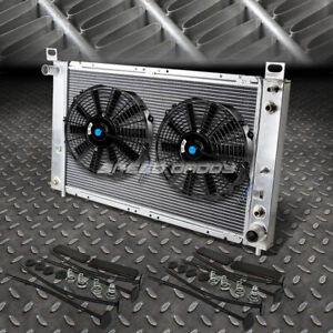 2 row Aluminum Radiator 2x 12 fan Kit For 99 07 Yukon sierra tahoe escalade V8