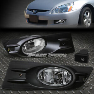 For 06 07 Honda Accord Coupe Clear Lens Bumper Fog Light Lamps W bezel switch