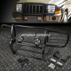 Black Brush Grille Guard Round Clear Fog Light For 06 10 Jeep Commander Xk Suv