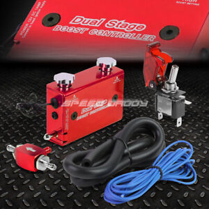 Red Dual Stage Electronic Turbo turbocharger Psi Boost Controller Kit w Switch