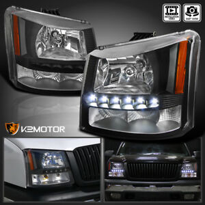 2003 2007 Chevy Silverado 1pc Black Smd Led Drl Black Headlights Bumper Lamps