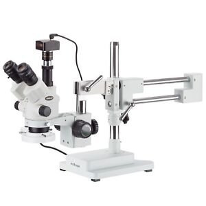 7x 45x Simul focal Stereo Zoom Microscope On Boom Stand Fluorescent Light 1