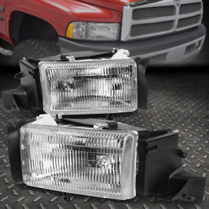 For 94 02 Dodge Ram 1500 2500 Chrome Housing Headlight Replacement Head Lamps