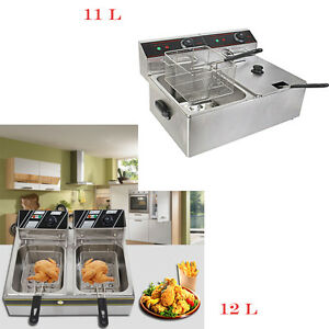 6l 11l 12l Electric Countertop Deep Fryer Dual Tank Commercial Restaurant Steel