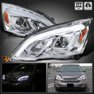For 2007 2011 Honda Crv Cr v Led Chrome Projector Headlights Left right