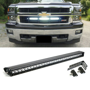 150w 30 Cree Led Light Bar W Behind Grille Bracket Wiring For Chevy Silverado