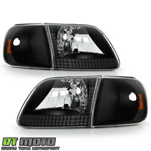 1997 2003 Ford F150 Expedition Black Headlights Corner Signal Lights Left Right