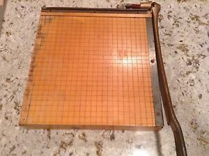 Vintage Ingento No 4 Paper Cutter Ideal School Supply Maple Wood cast Iron