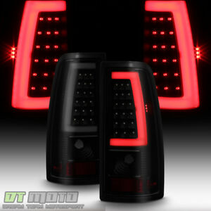 Black Smoke 1999 2006 Gmc Sierra 99 02 Chevy Siverado Led Tube Tail Lights Lamps