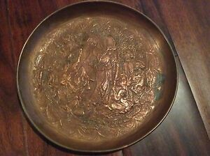 Antique Copper Handmade Ornate Persian Arabic Islamic Wall Plate Belly Dancer