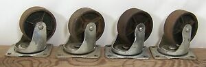 Set 4 Vintage Bassick 461 Industrial 4 Swivel Casters Cast Iron Wheels Cart