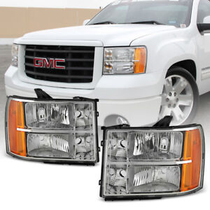 2007 2013 Gmc Sierra 1500 2500hd 3500hd Crystal Headlights Headlamps Left right