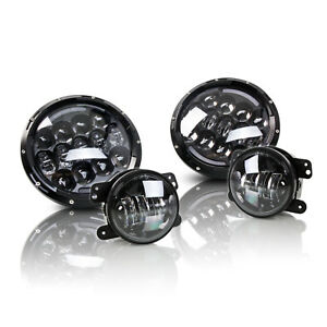 Optix 7 Round 105w Led Headlight 4 30w Fog Light 1997 2016 Jeep Wrangler Jk