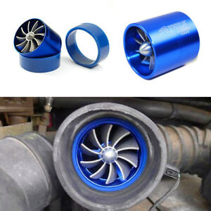 Autos Aluminum Blue Air Intake Turbonator Dual Fan Engine Turbine Super Charger