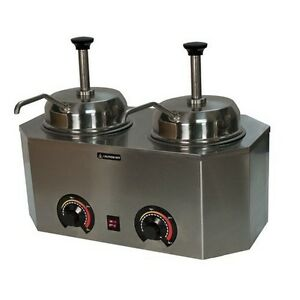 Paragon Pro deluxe Dual Condiment Warmer Pump Cheese Caramel Fudge 2029b