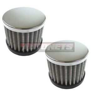 2x Chrome Steel Washable Filter Push In Valve Cover Breather 1 1 4 Hole Sbc Bbc