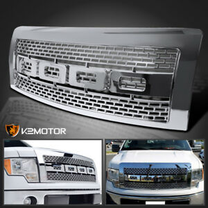 For 2009 2014 Ford F150 Raptor Style Mesh Bumper Hood Chrome Grille W Shell