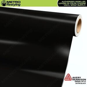 Avery Sw900 197 O Satin Black Vinyl Vehicle Car Wrap Decal Film Sheet Roll