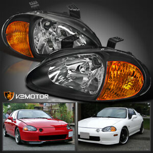Fit 1993 1997 Honda Civic Del Sol Jdm Black Headlights Corner Signal Lights Pair