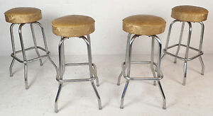 Beautiful Set Of Four Mid Century Modern Krometal Bar Stools 8466 Nj
