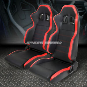2 X Pvc Leather Red Stripe Universal Full Reclinable Sports Style Racing Seat