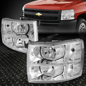 For 2007 2014 Chevy Silverado Pair Chrome Housing Clear Side Headlight Lamp Set