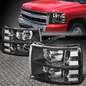 For 07 14 Chevy Silverado Black Housing Clear Corner Headlight Replacement Lamp