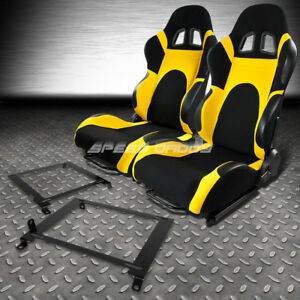 2x Black Yellow Reclinable Racing Seats Low Mount Bracket For 01 05 Honda Civic