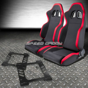 2 X Red Trim Sports Fabric Racing Seats mount Bracket For 97 06 Jeep Wrangler Tj