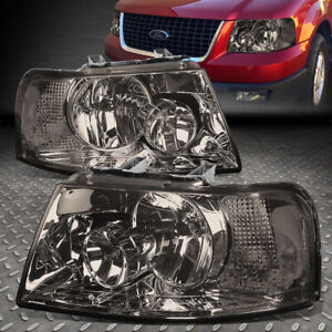 For 2003 2006 Ford Expedition Pair Smoked Housing Clear Side Headlight Lamp Set