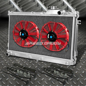 2 Row Aluminum Radiator 2x 12 Fan Kit Red For Jdm 90 97 Mazda Miata Mx5 Na B6ze