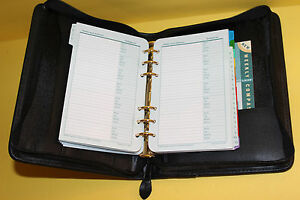 Franklin Covey 7 Ring Black Leather Zip Planner Binder