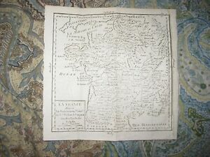 Antique 1750 France French Copperplate Vaugondy Government Map Paris Wine Areas