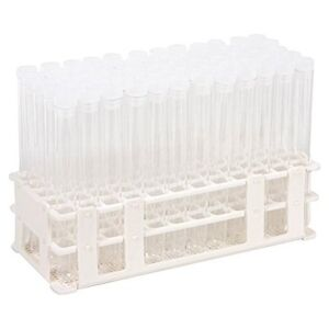 Kit White Plastc Rack 60 16x150mm Plastic Test Tubes And 60 Caps