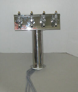 Micro Matic t Style Beer Tower 4 Faucets Polished Stainless Steel Air Cooled