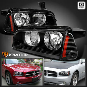 For 2006 2010 Dodge Charger Black Headlights Signal Corner Lights Lamp Pair