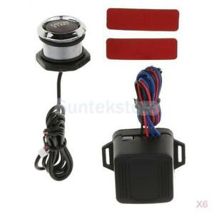 6x Universal Car Engine Start Push Button Switch Ignition Kit With Red Led