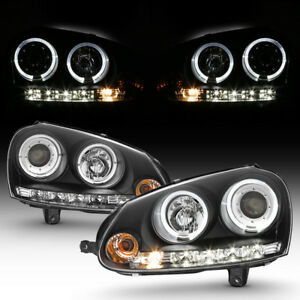 Black 2006 2009 Vw Gti Jetta Rabbit Led Halo Projector Headlights W Drl Lights