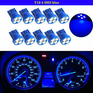 10pcs T10 Wedge Blue 4 Smd Led Dashboard Light W5w 194 2825 Gauge Cluster Bulbs