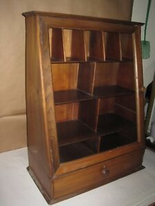 Antique Wall Cabinet Table Top Glass Door With Drawer