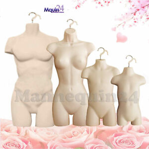 4 Mannequins muscle Man Family Flesh Male Female Child Toddler Dress Forms