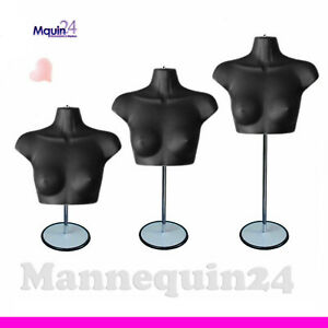 One Black Female Chest Torso Mannequin With Stand Hanger For Hanging