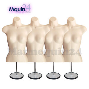 A Lot Of 4 Flesh Mannequin Female Torso Forms With 4 Metal Stands 4 Hangers